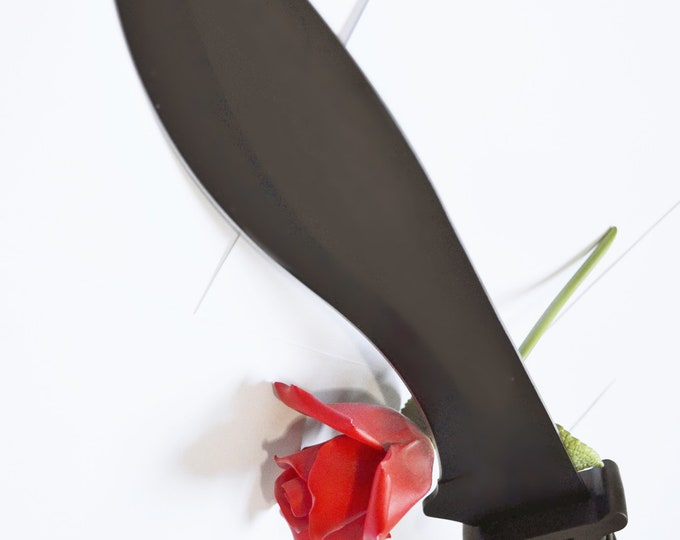 Extra Large, Heavy Black Steel Blade for Knife Play - BDSM Adult Toy -- Can Be Dulled for Beginning Knife Play