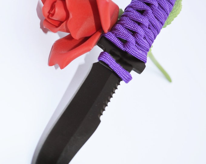 """Violet and Black Chisel Wicked Tip Short Dagger - 7"""" of Black Steel, Purple Hand Woven Grip, Heavy BDSM"""