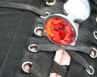 Heavy Little Princess Jeweled Butt Plugs in Brilliant Red - BDSM Sex Toys