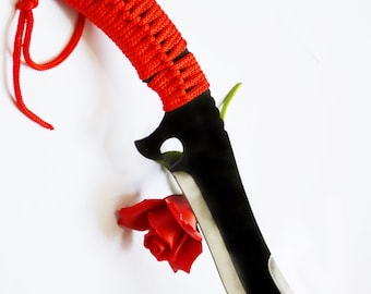 """Crimson Curved Scimitar Dagger - 14"""" BDSM Knife Play blade, red wrapped cord, sexy play toy!"""