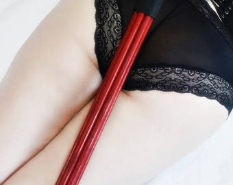 Red Enamel Mother Fucker -  Heavy Oak Thuddy Spanking Toy for BDSM and Kink Spanking Lovers