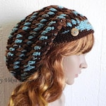 Slouchy Beanie, Earth & Sky Multicolor Slouch Beanie, Womens Knit Beanie, Winter Hat, Womens Crochet Hat by Vikni Designs