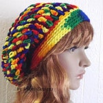 Mexicana Slouchy Beanie Hat, Multicolor Slouch Beanie, Womens Knit Beanie, Winter Womens Crochet Hat by Vikni Designs