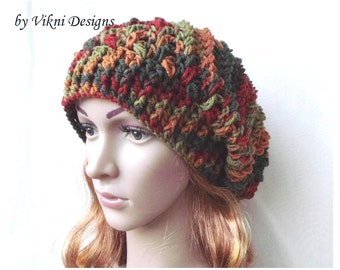 Winter Crochet Womens Slouchy Hat, Fall Crochet Hat, Women Hat, Crochet Slouchy Womens Knit Beanie by Vikni Designs