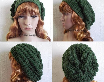 Crochet Hat, Womens Slouchy Beanie Hat, Green Thyme Womens Knit Beanie, Winter Hat by Vikni Designs