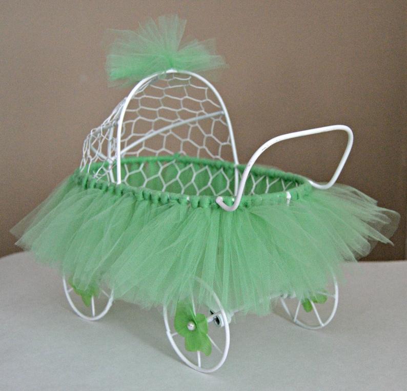 de962c25a459 Baby Stroller Centerpiece White Wire Baby Buggy Baby Shower