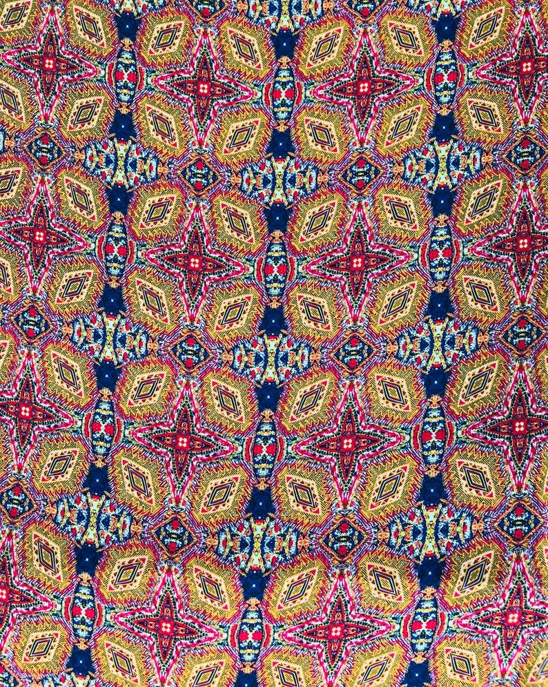 WOOLDOBBY  FABRIC by the yard red blue yellow kaleidoscope fabric  58\u201d wide Kimonos neck wraps cowboys wild rags  head wear dresses