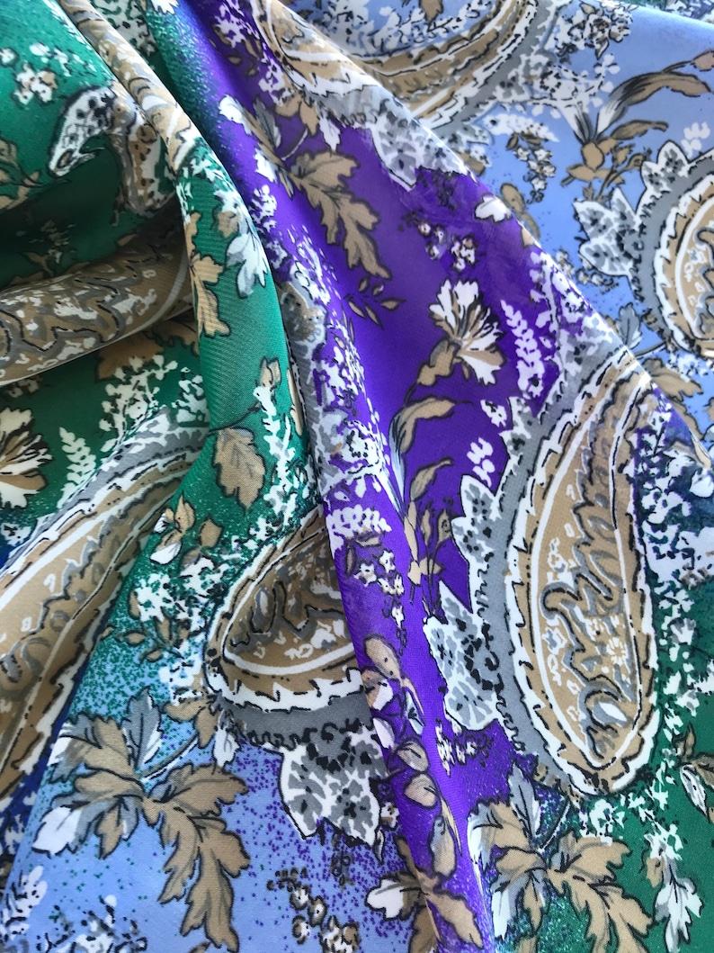 skirts western fashion wildrags green and blue  Paisley print  dress fabric CHIFFON  by the yard Purple Kimonos
