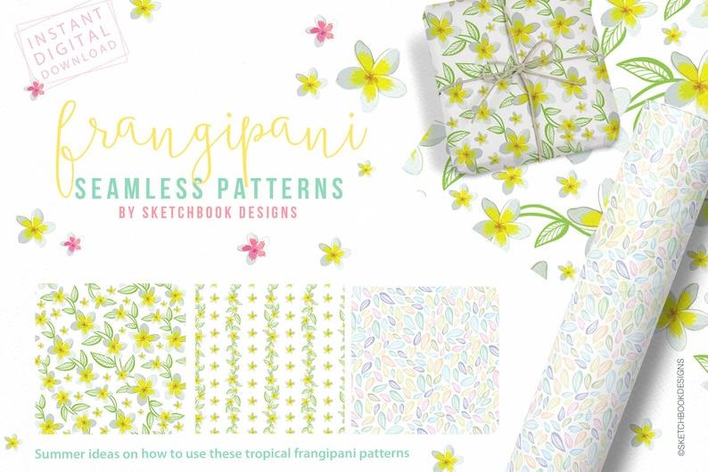 Yellow /& Pink Frangipani Summer Digital Seamless Patterns