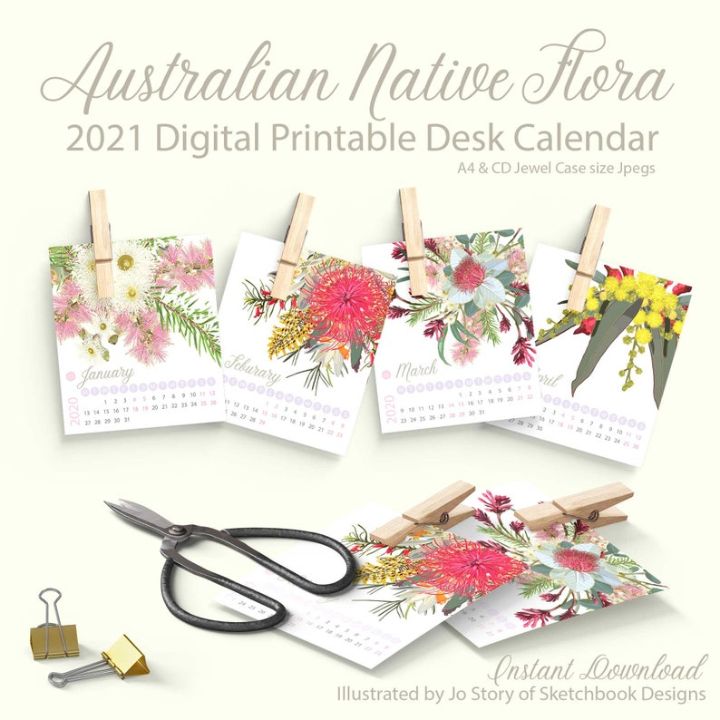 Australian Native Flowers Digital Calendar  12 Month image 0