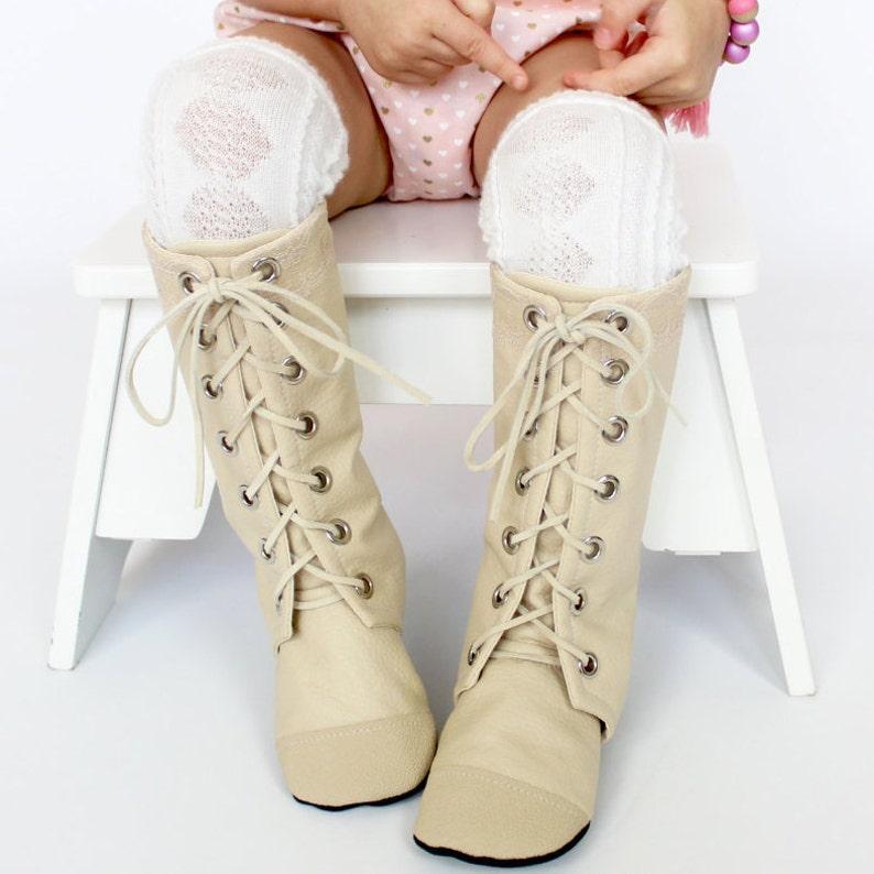 Cream Knee High Combat Boots image 0