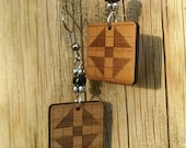 Quilt block quot Churn Dash quot pattern laser-engraved lightweight earring, silver plastic, copper plastic or wood