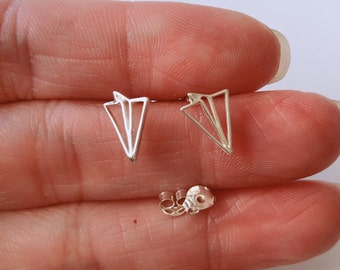 Paper Airplane Stud Earrings Hypoallergenic 925 Sterling Silver Gifts For Her