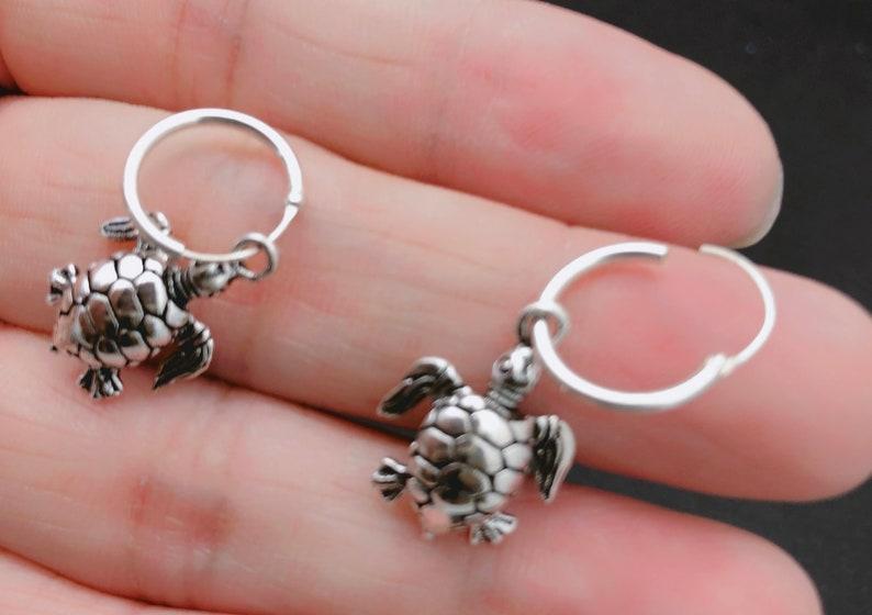 b29cb8d5d Sterling Silver Sea Turtle hoop Earrings Turtle Cartilage | Etsy