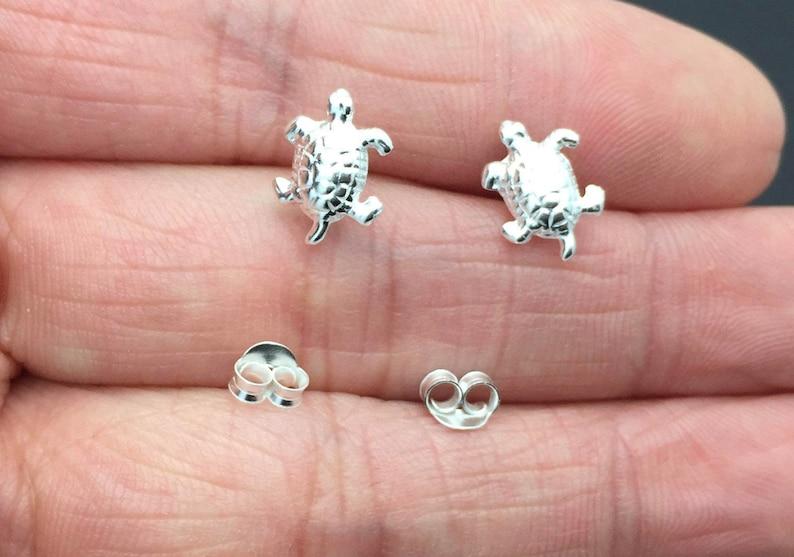 cbdb49d7f Sterling Silver Sea Turtle Stud Earrings Tiny Turtle | Etsy