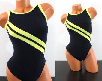 BIANCO e Nero a Righe Cravatta Anteriore Tagliato Monokini Swimsuit Swimear