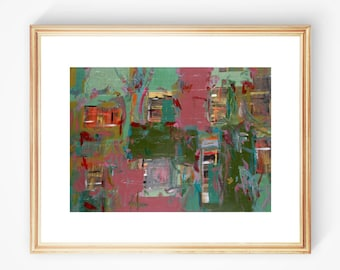 """Abstract Painting, Original Acrylic, Contemporary Wall Art, 9"""" x 12"""" Modern Fine Art, Green Coral Turquoise Art"""