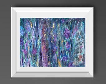 """Abstract Painting Blue Purple 18"""" x 24"""" Original Acrylic Contemporary Wall Art, Home Decor, Modern Art on Paper by Jimarieart"""