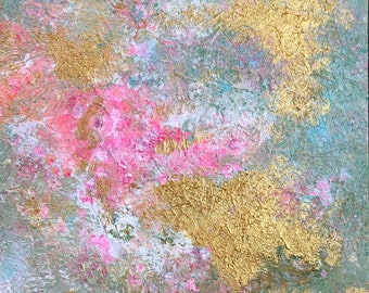 Original Abstract Acrylic Painting Modern Art, 8 x 10 Canvas Board Pink, Gray, White, Gold Modern Art, Contemporary Home Decor