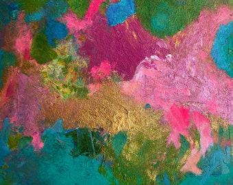 "Abstract Painting Original Acrylic Modern Wall Art 9"" x 12"" Paper Contemporary Fine Art Home Decor"