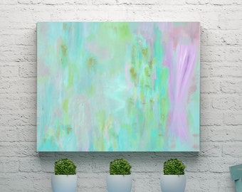 """Abstract Painting, Acrylic 18 x 24 Turquoise Original Contemporary Fine Wall Art, 18"""" x 24"""" Modern Home Decor on Canvas Free Shipping"""