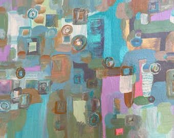 "Original Abstract Painting Modern Fine Wall Art, Turquoise, Light Blue Pink Aqua Gold 9"" x 12"" Contemporary Wall Art"