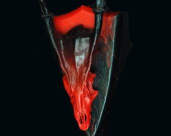 Muntjac deer skull hand painted in death red