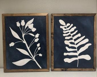 Moderne branches buissons dans cadre 3 panneaux en bois MDF Hanging Wall Art Wood 030