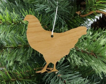 Hen Chicken Ornament in Wood or Mirror Acrylic Customizable with Name