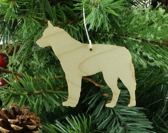 siberian husky ornament in wood or mirror acrylic customizable with name
