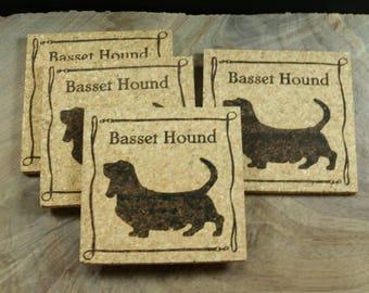 Basset Hound Cork Coaster Set - Thick Laser Engraved Cork