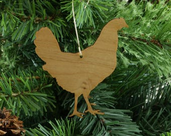 Key West Hen Ornament in Wood or Mirror Acrylic Customizable with Name