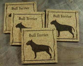 Bull Terrier Cork Coaster Set - Thick Laser Engraved Cork