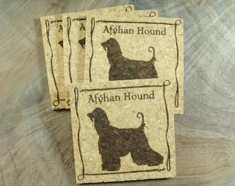 Afghan Hound Cork Coaster Set - Thick Laser Engraved Cork