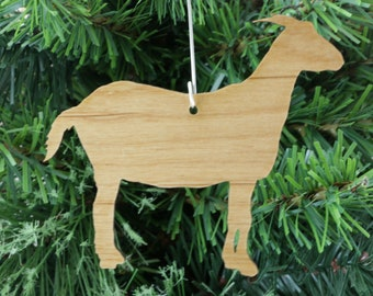 alpine type goat ornament in wood or mirror acrylic customizable with name