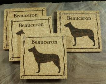 Beauceron Cork Coaster Set - Thick Laser Engraved Cork