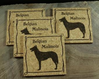 Belgian Malinois Cork Coaster Set - Thick Laser Engraved Cork