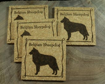 Belgian Sheepdog Cork Coaster Set - Thick Laser Engraved Cork