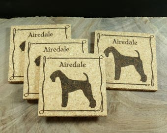 Airedale Terrier Cork Coaster Set - Thick Laser Engraved Cork