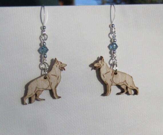 ff2c45018 German Shepherd Earrings with Swarovski Crystal   Etsy