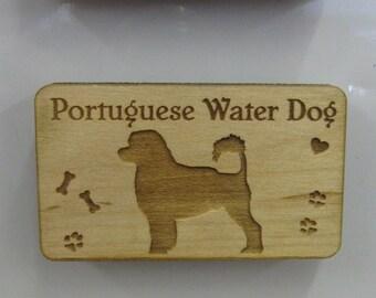 Original Portuguese Water Dog Wood Magnet in Lion Clip