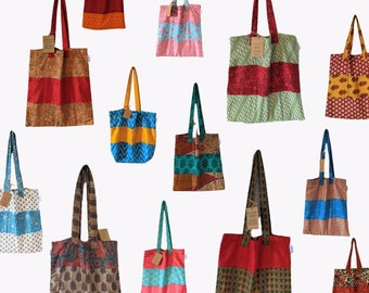 Upcycled Silk Tote Shopping or School Bag - using recycled sari fabric by upskilled, empowered women