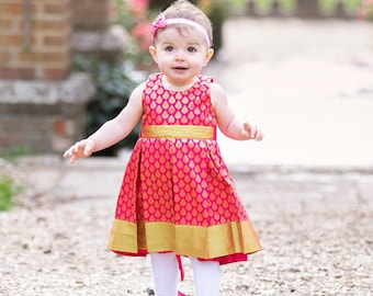 Silk pink and gold pleated party dress| Birthday dress| Indian dress for girl| Special occasion dress| colourful outfit