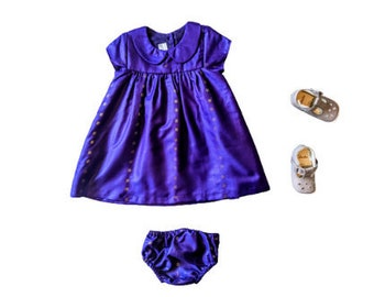 Purple Gold Baby Dress and Bloomers  Indian newborn baby outfit made from sari fabric