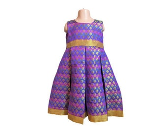 Purple woven party dress for girls  6-7y Multicoloured flower girl dress handmade bridesmaid dress Indian party dress for girls