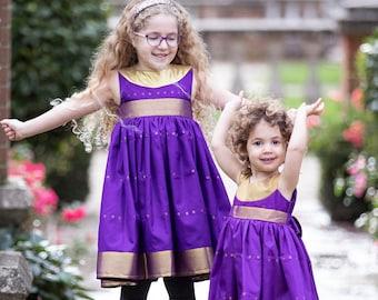 Girls purple and gold party dress  5-6y  Purple bridesmaid dress  Cute flower girls dress  Desi party dress