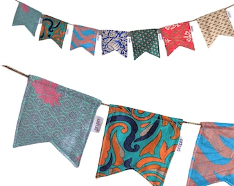 Personalised Recycled Sari Bunting, Nursery Bunting, Garden Decoration, Party Decor, New Baby Gift