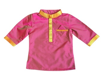 Baby Boy Magenta Kurta Top handmade from upcycled Indian sari fabric  indian wedding outfit for baby  Diwali outfit
