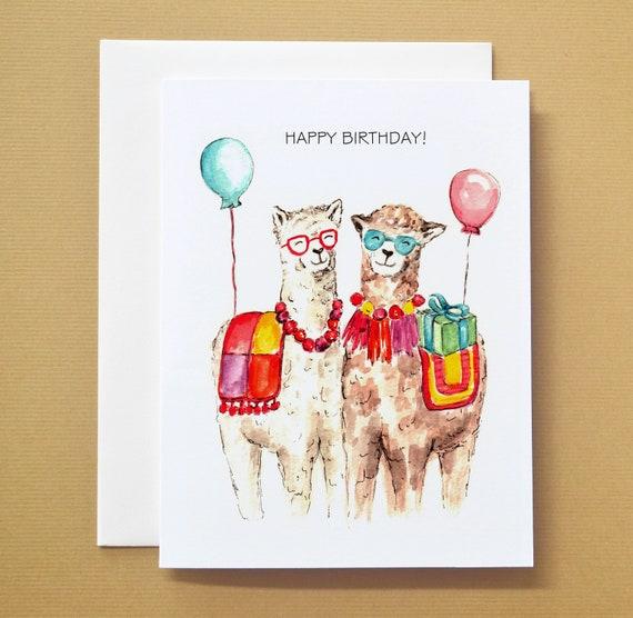 Alpaca Llama Happy Birthday Watercolor Card