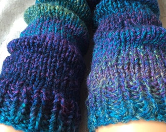 Petrol Hand-Knitted Chunky Leg Warmers, Blue Green Purple Violet Turquoise